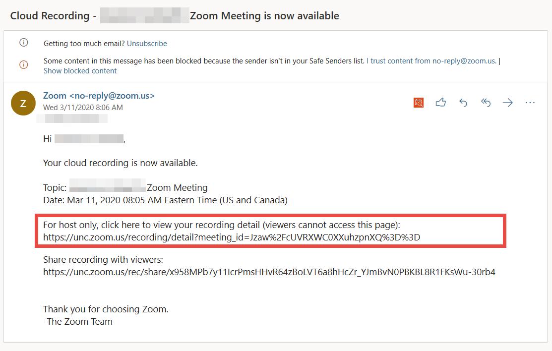 Screenshot of email notification