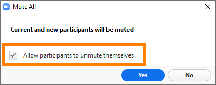 Zoom Mute All dialog with Allow participants to unmute themselves option checked.